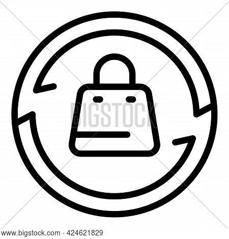 Narrow Market Shop Bag Icon. Outline Narrow Market Shop Bag Vector Icon For Web Design Isolated On W