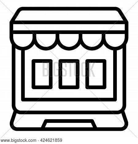 Narrow Market Online Icon. Outline Narrow Market Online Vector Icon For Web Design Isolated On White