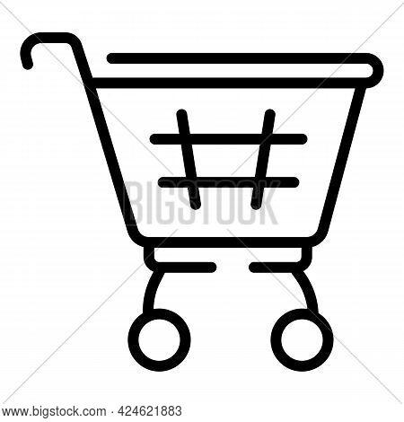 Narrow Market Shop Cart Icon. Outline Narrow Market Shop Cart Vector Icon For Web Design Isolated On