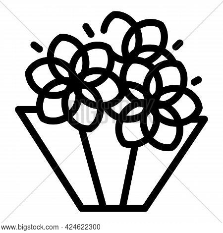 Beautiful Flower Bouquet Icon. Outline Beautiful Flower Bouquet Vector Icon For Web Design Isolated