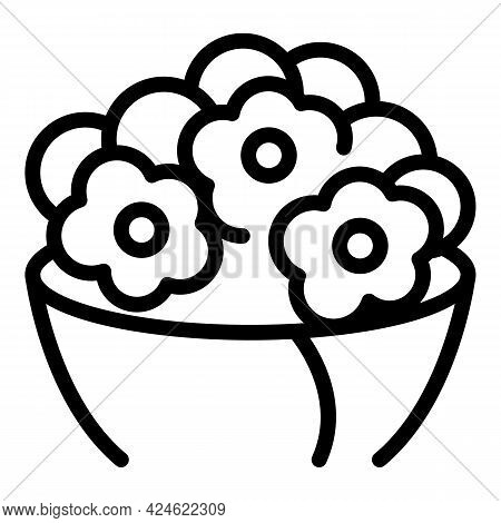Romantic Flower Bouquet Icon. Outline Romantic Flower Bouquet Vector Icon For Web Design Isolated On