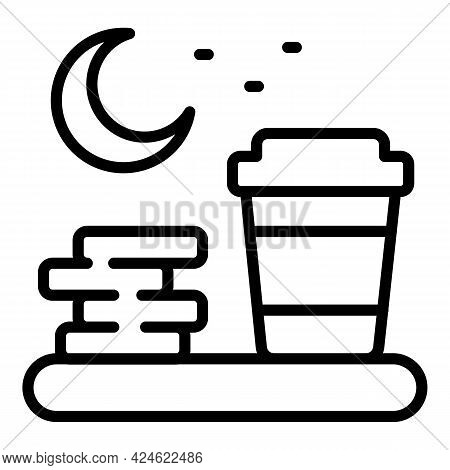 Late Work Coffee Icon. Outline Late Work Coffee Vector Icon For Web Design Isolated On White Backgro