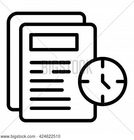 Late Work Papers Icon. Outline Late Work Papers Vector Icon For Web Design Isolated On White Backgro