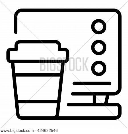 Late Work Home Coffee Icon. Outline Late Work Home Coffee Vector Icon For Web Design Isolated On Whi