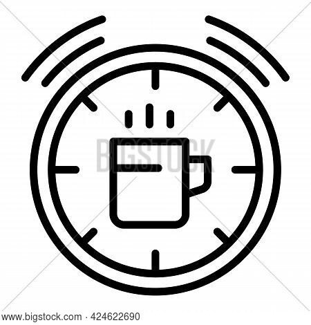 Late Work Tea Time Icon. Outline Late Work Tea Time Vector Icon For Web Design Isolated On White Bac
