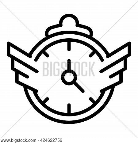 Person Work Fast Time Icon. Outline Person Work Fast Time Vector Icon For Web Design Isolated On Whi
