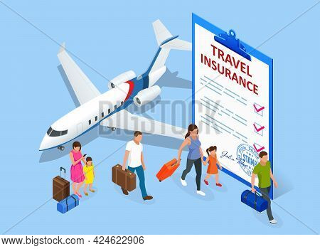 Insurance Policy, Booking Travel Insurance. Isometric Travel Agent Ticket Safe Plan Trip Holiday Mod