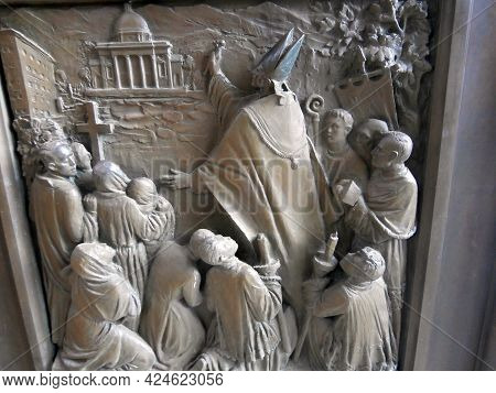 Oropa, Italy - 23 June 2021: A Marble Bas-relief On The Central Altar Of The Sanctuary. Hq Photo.
