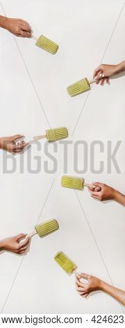 Womens Hands Taking Green Matcha Popsicles From Table, Vertical Composition