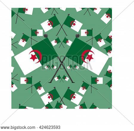 Vector Illustration Of Pattern Algeria Flags And Green  Colors Background