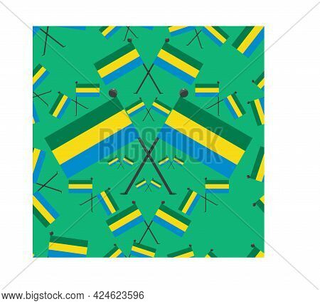 Vector Illustration Of Pattern Gabon Flags And Green Colors Background