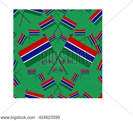 Vector Illustration Of Pattern Gambia Flags And Green Colors Background