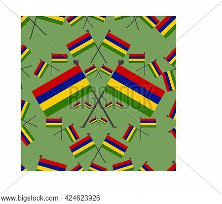 Vector Illustration Of Pattern Mauritius Flags And Green Colors Background