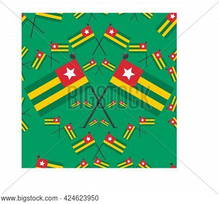Vector Illustration Of Pattern Togo Flags And Green  Colors Background