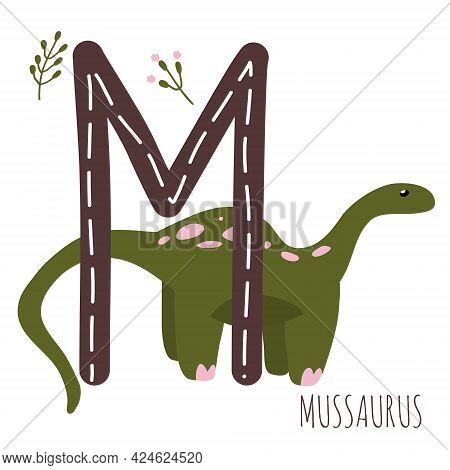 Mussaurus.letter M With Reptile Name.hand Drawn Cute Herbivores Dinosaur.educational Prehistoric Ill