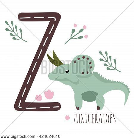 Zuniceratops.letter Z With Reptile Name.hand Drawn Cute Dinosaur.educational Prehistoric Illustratio