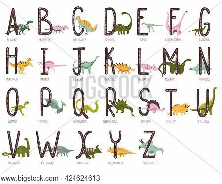 Dino Alphabet.hand Drawn Cute Dinosaurs.educational Prehistoric Illustration.each Letter Match To Re