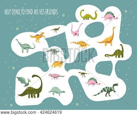 Help Baby Dinosaur To Find All His Friends.childish Mini Board Game For Development.dino Maze. Enter