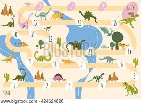 Help Baby Dinosaur To Meet All His Friends.adventure Play With Dice And Chips For Family.childish Mi