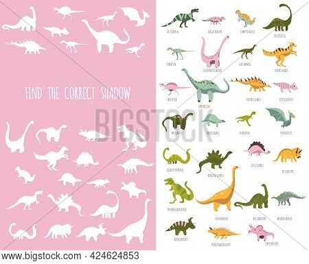 Paleontology For Kids.hand Drawn Cute Dinosaurs.find The Correct Shadow. Educational Matching Game.c