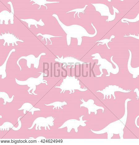 Seamless Pattern With Cute Silhouette Dinosaurs.jurassic,mesozoic Reptiles.various Dino Characters.p