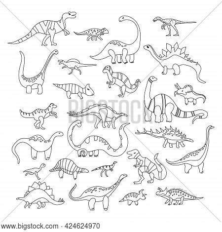 Coloring With Various Dino Characters Set.game For Kids.cute Hand Drawn Dinosaurs.sketch Jurassic,me