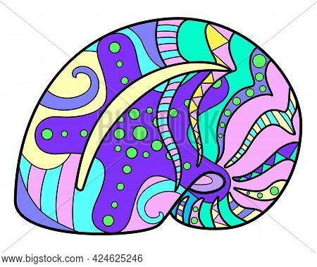 Snail Shell - Vector Linear Full Color Zentangle Illustration - With Sea Animal Living In The Ocean.