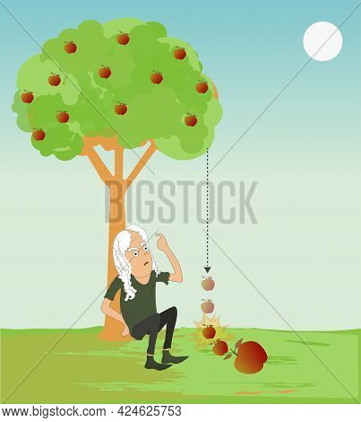 Physics. Apple Falling From Tree, Gravitational Force