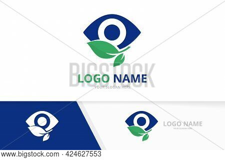 Eyes With Leaves Logo Design Template. Green Optic Vision Logotype.