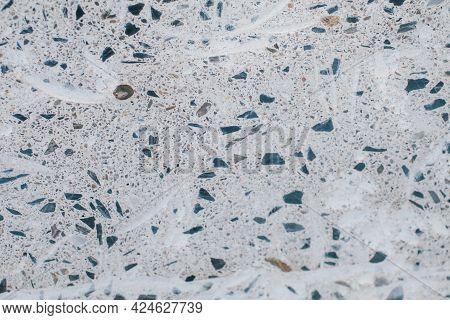 Terrazzo Floor. Classic Venetian Terrazzo Style Of Floor Of Natural Stone, Granite, Quartz. Stone Ab