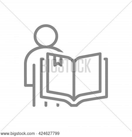 Open Book With Human Line Icon. Bookstore, Education Course Symbol