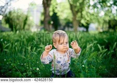 Kid Sits In The Tall Grass Among The Wildflowers, Raising His Fists Up