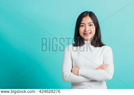 Young Beautiful Asian Woman Smiling With Crossed Arms, Portrait Of Positive Confident Female Stand C