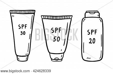 Set Of Tubes Of Sunscreen Isolated On White Background. Lotions 20, 30, 50 Spf For Protection From U