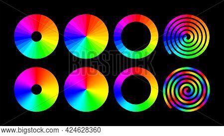 Rainbow Color Ring Set. Vector Rgb Color Wheel.