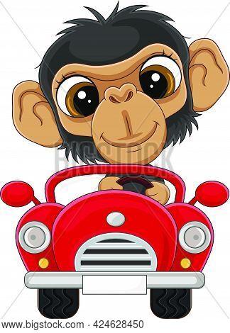 Vector Illustration Of Cartoon Baby Chimpanzee Driving Red Car