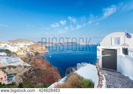 View Of Volcano Caldera With  Houses Of Oia, Santorini Island, Greece