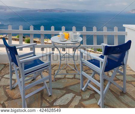 Fresh Greek Breakfast At Morning By Seaside With Caldera View, Santorini, Greece