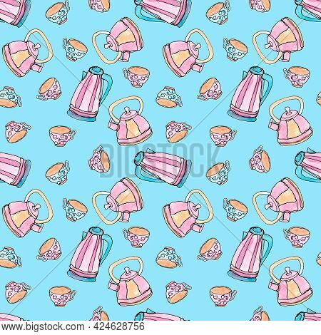 Seamless Pattern With Kitchen Utensils. Teapots And Mugs On A Blue Background. Single Line. Cooking