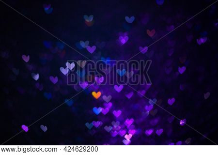 Decoration Twinkle Glitters Background, Abstract Shiny Backdrop With Hearts, Modern Design Overlay W