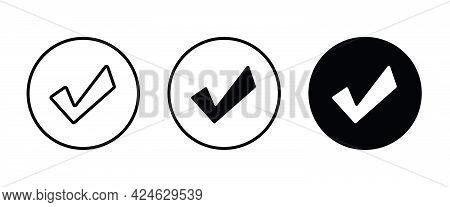 Tick Icon. Check Mark Icons Button, Vector, Sign, Symbol, Logo, Illustration, Editable Stroke, Flat