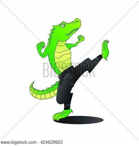 Kungfu Crocodile Or Alligator Cartoon Mascot Eps