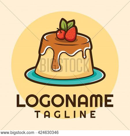 Pudding Logo, Bakery Logo Template, Suitable For Restaurant And Shop.