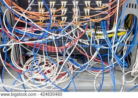 Cable Network In Server Room Cable Tangled Of Poorly Routed Cables Concept Organized Cabling In Serv
