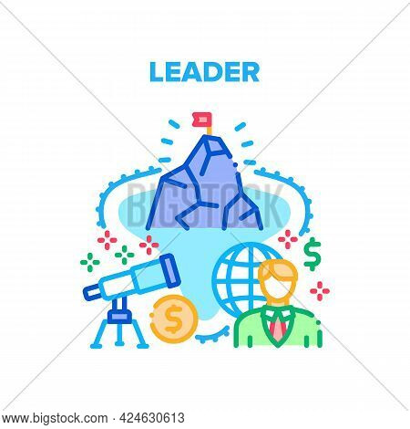 Leader Finance Vector Icon Concept. Leader Finance Manager Thinking Strategy And Searching Solution