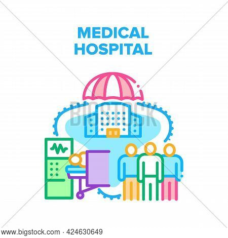 Medical Hospital Vector Icon Concept. Medical Hospital For Treatment Illness Patient And Emergency H