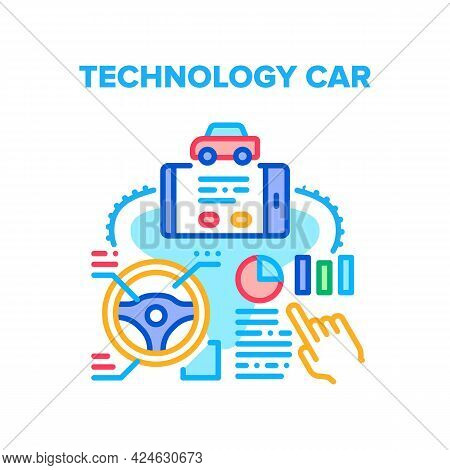 Technology Car Vector Icon Concept. Car Remote Control With Smartphone Application And Controlling V