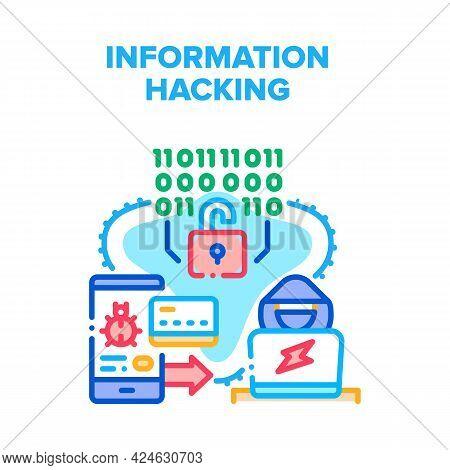 Personal Information Hacking Vector Icon Concept. Personal Information Hacking, Data Phishing And Ha