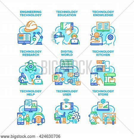 Technology Research Set Icons Vector Illustrations. Education And Knowledge, Researching And Enginee
