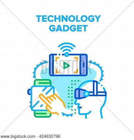 Technology Electronic Gadget Vector Icon Concept. Smart Watches And Virtual Reality Vr Glasses, Smar
